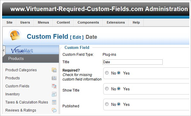 virtuemart create edit custom field